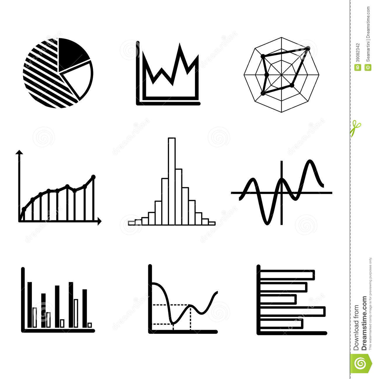 set of graphs and charts stock vector  illustration of report