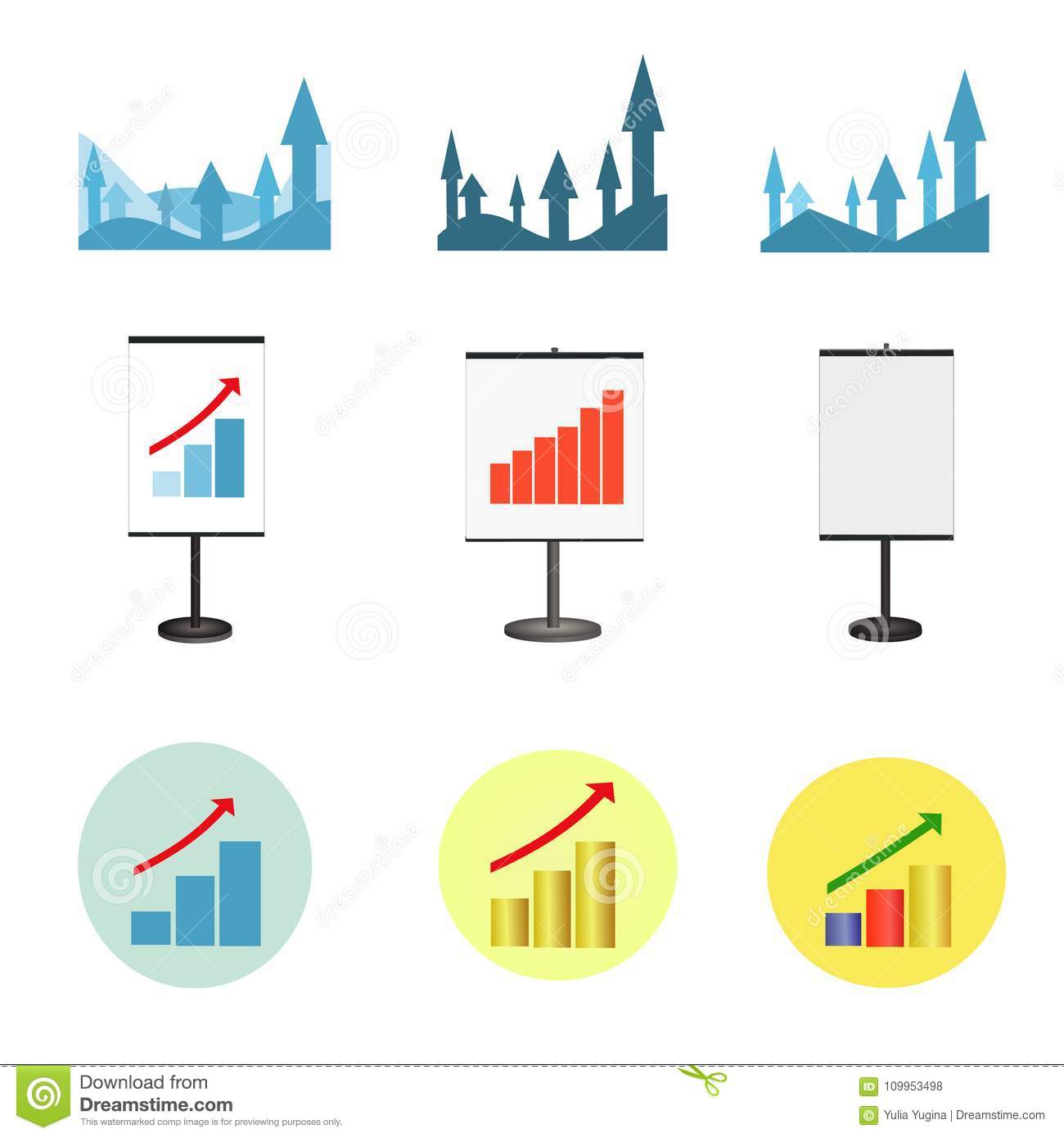 Set Of Graphs Showing Growth Business Stock Vector