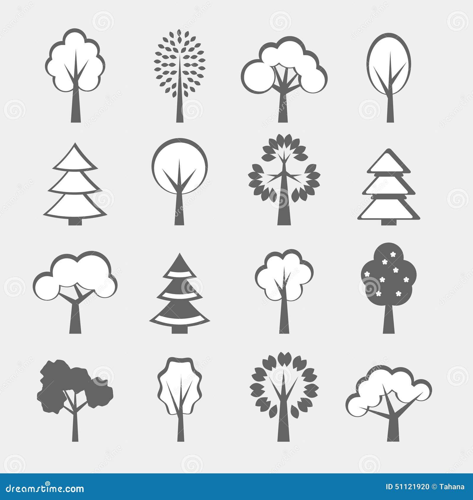 Set of gray trees shape