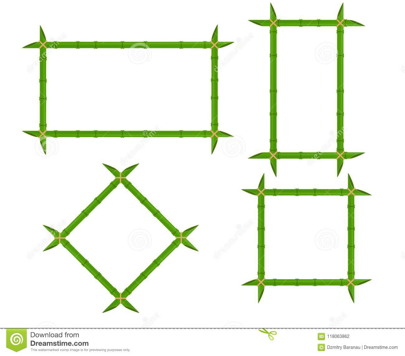 Set green bamboo frames of different shapes with ropes and place for text. Decoration wooden signboard vector flat illustration de
