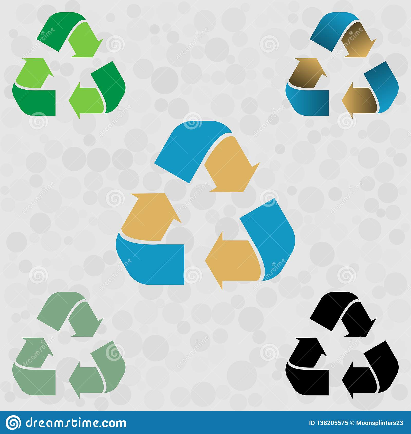 Set of green blue yellow recycle icons arrow. Vector illustration EPS 10. Isolated on white background