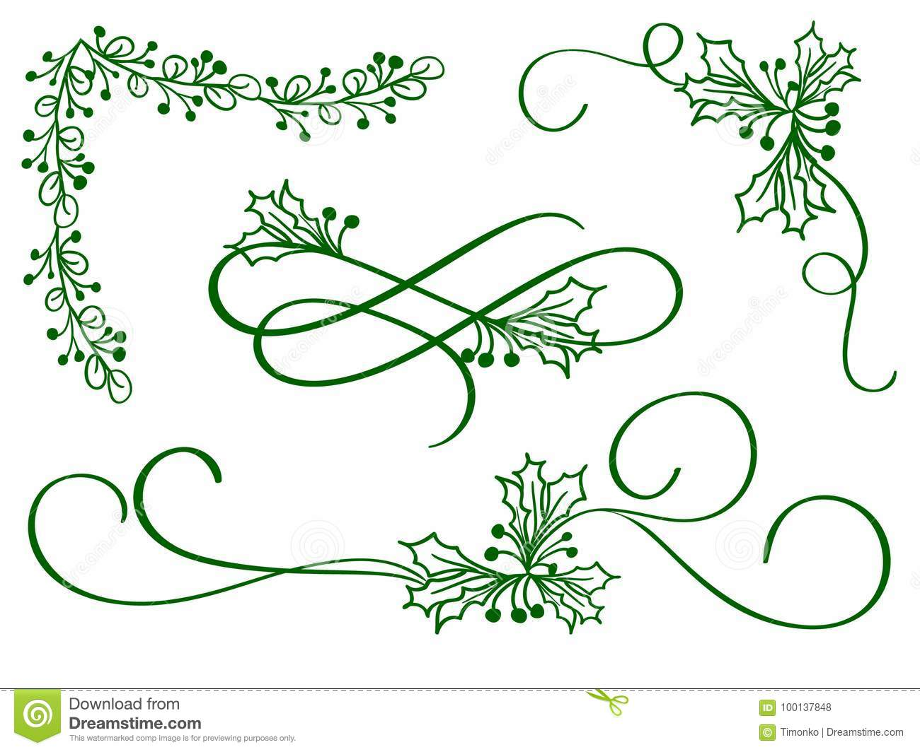 Set of green christmas calligraphy flourish art with vintage decorative whorls for design on white background. Vector