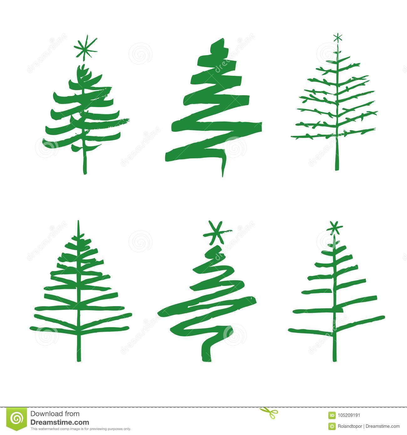 Christmas Trees Drawing.Set Of Green Christmas Trees Drawing Vector Illustration