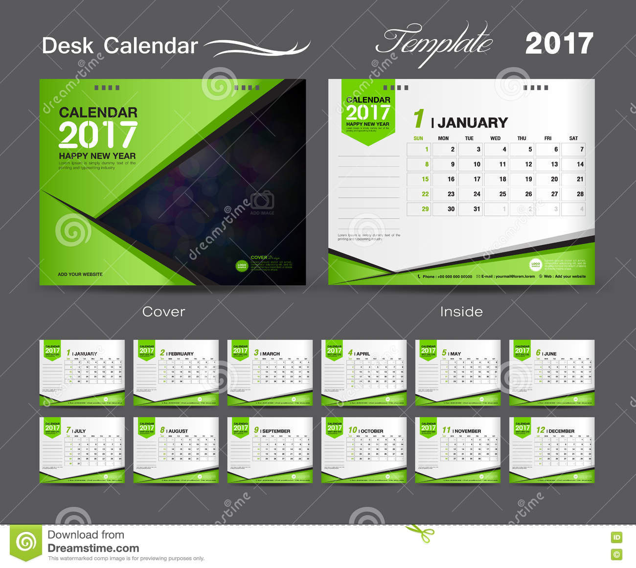 Calendar Green : Set green desk calendar template design cover