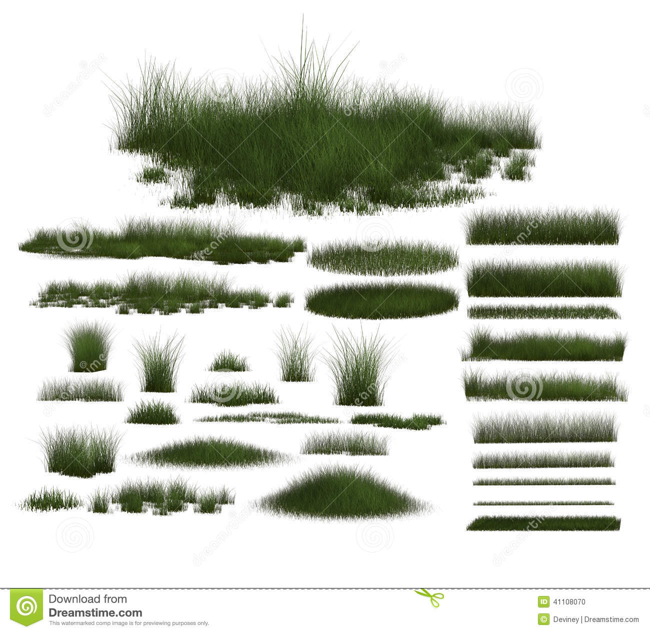 Set of Green Grass Designs