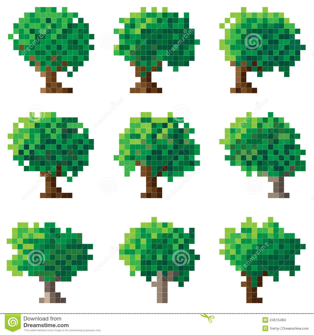 Set of green pixel tree. stock vector. Illustration of