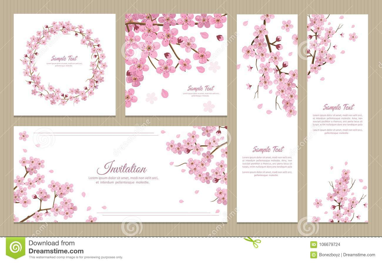 Set Of Greeting Cards Banners And Invitation Card With Blossom