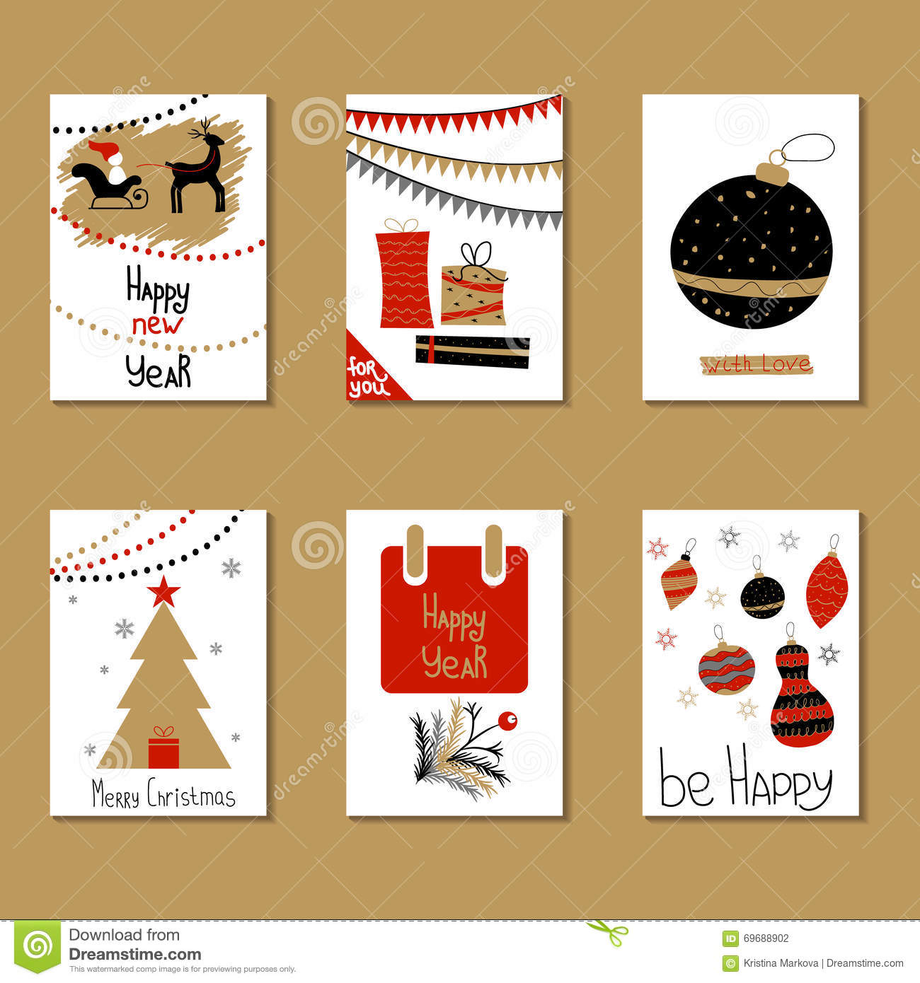 Set of greeting cards congratulations on christmas and new year download set of greeting cards congratulations on christmas and new year stock vector illustration m4hsunfo