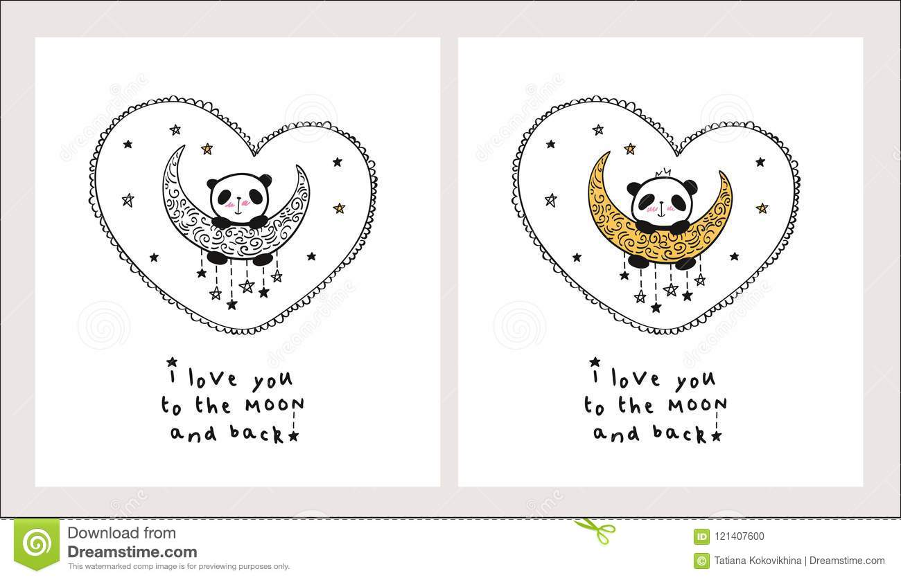 Set of greeting cards with cute panda on the gold moon and heart download set of greeting cards with cute panda on the gold moon and heart stock m4hsunfo