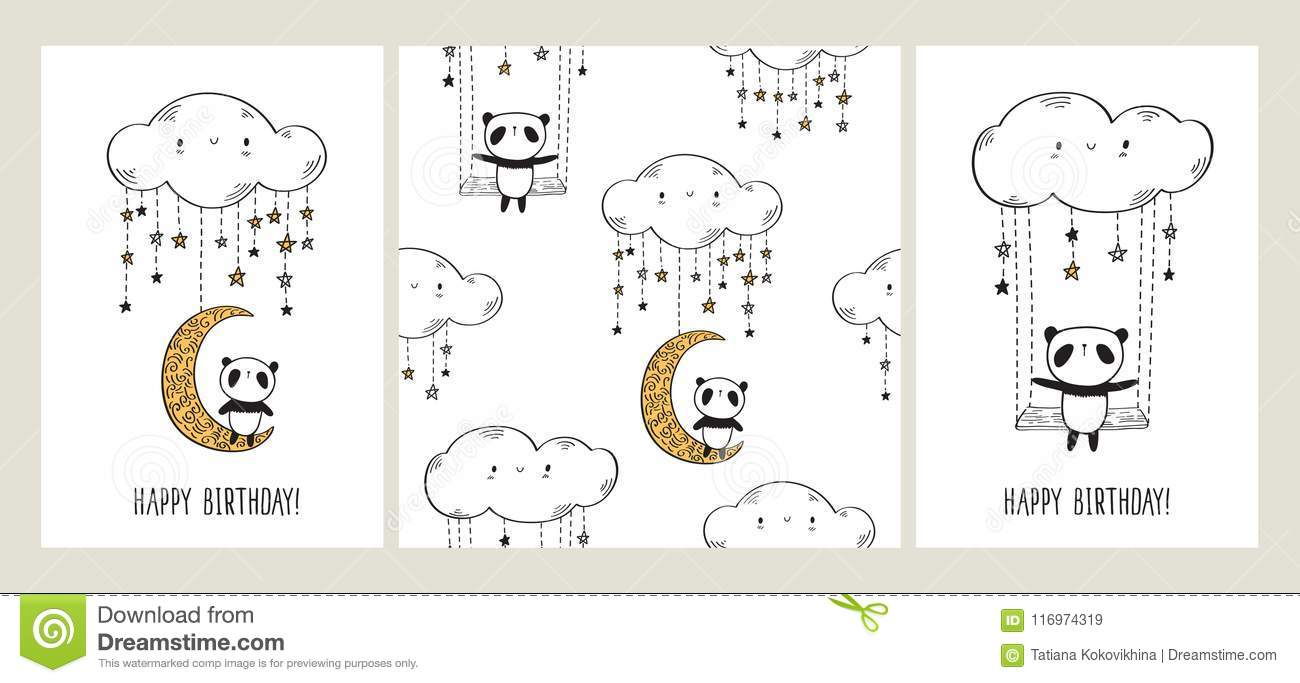 Set of greeting cards with cute pandas on the moon and swing and set of greeting cards with cute pandas on the moon and swing and seamless pattern m4hsunfo