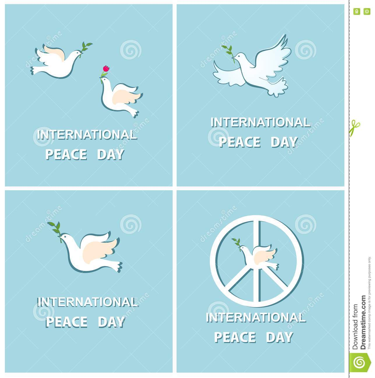 Set Of Greeting Cards With Doves For International Peace Day Stock