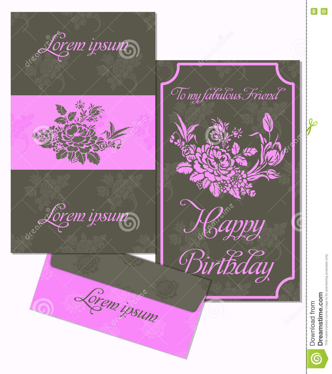Printable Happy Birthday Invitation Template Cards Set Postcards And Envelope