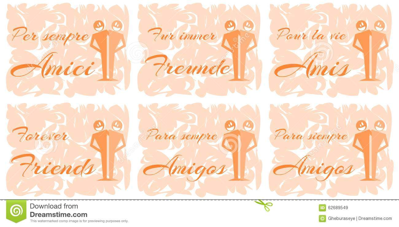 Set Of Greeting Cards About Friendship Stock Vector Illustration