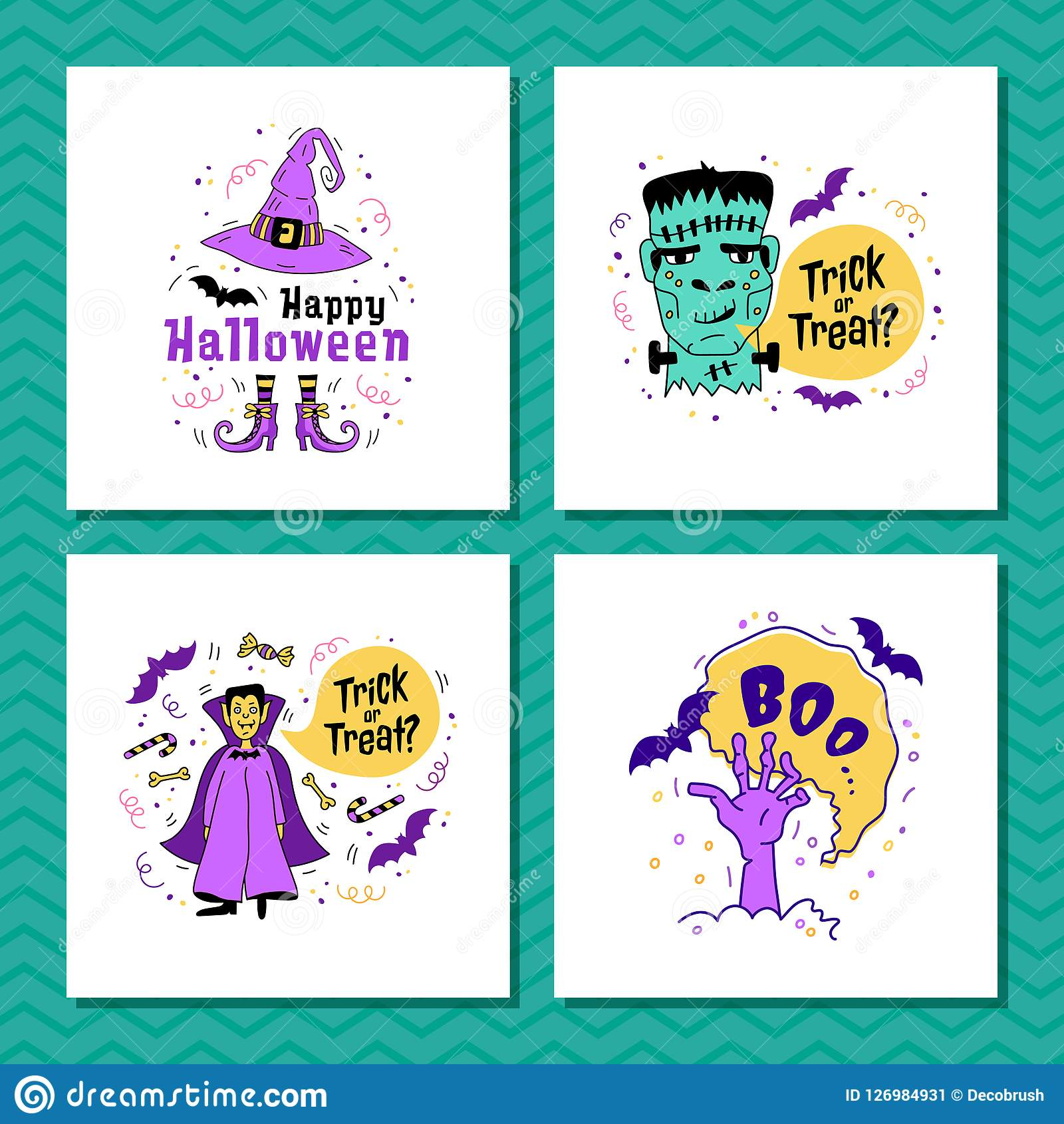 Set of greeting cards for halloween trick or treat inscription set of greeting cards for halloween trick or treat inscription happy halloween lettering m4hsunfo