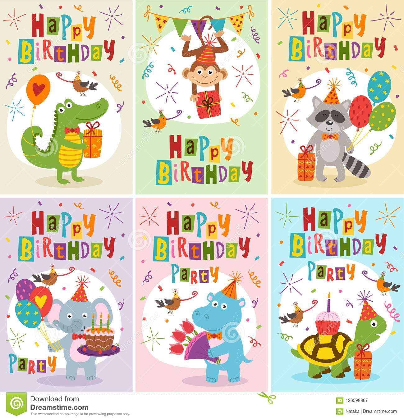 Set Of Greeting Cards Happy Birthday With Funny Animals Stock Vector