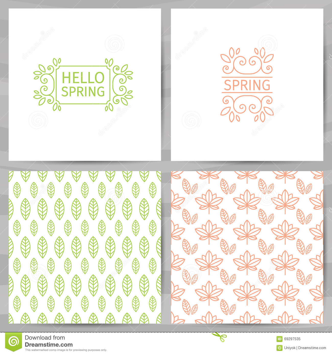 Set Of Greeting Cards Invitations Template Design Hello Spring