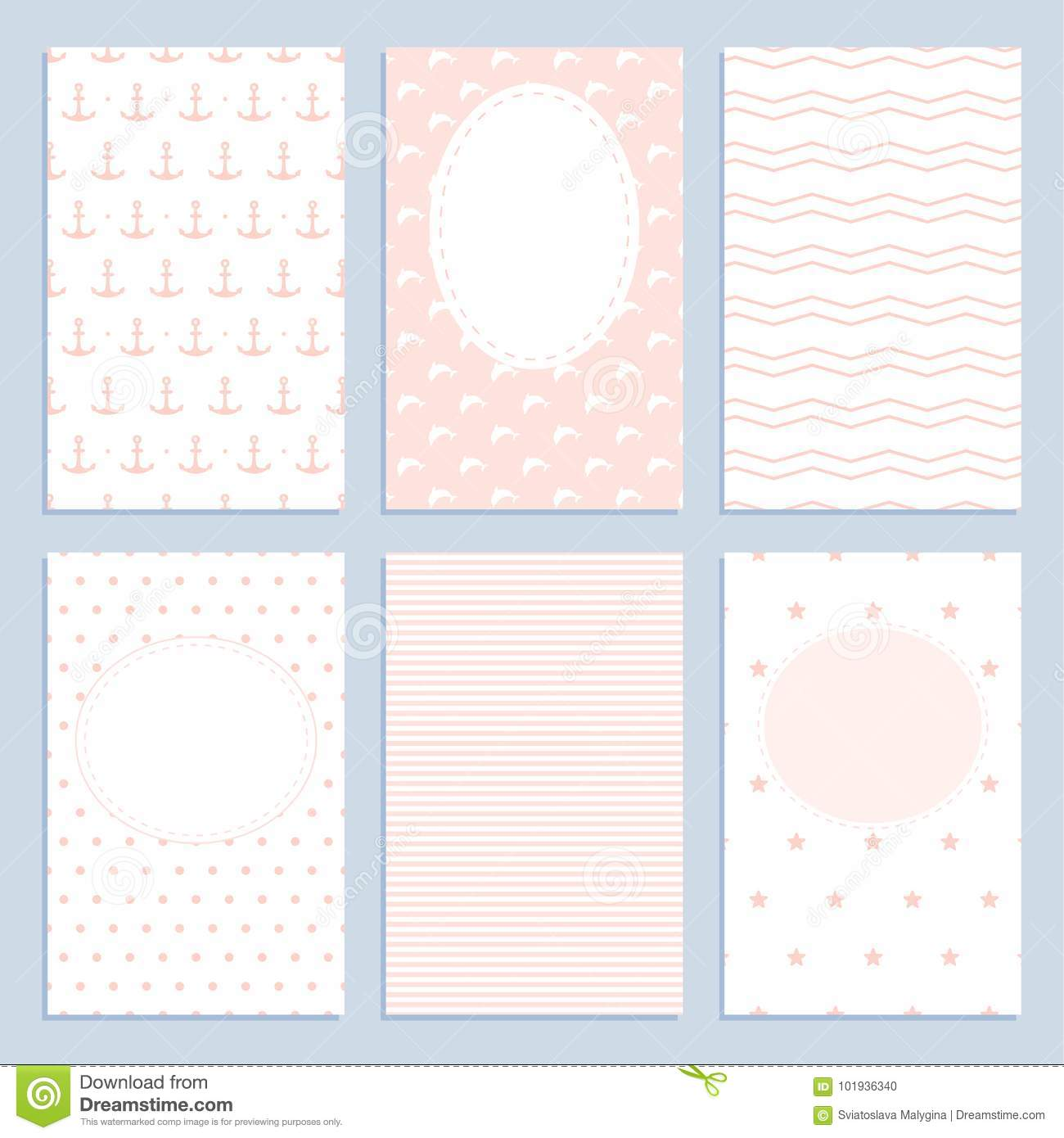 Set of greeting cards in a marine style for girls.