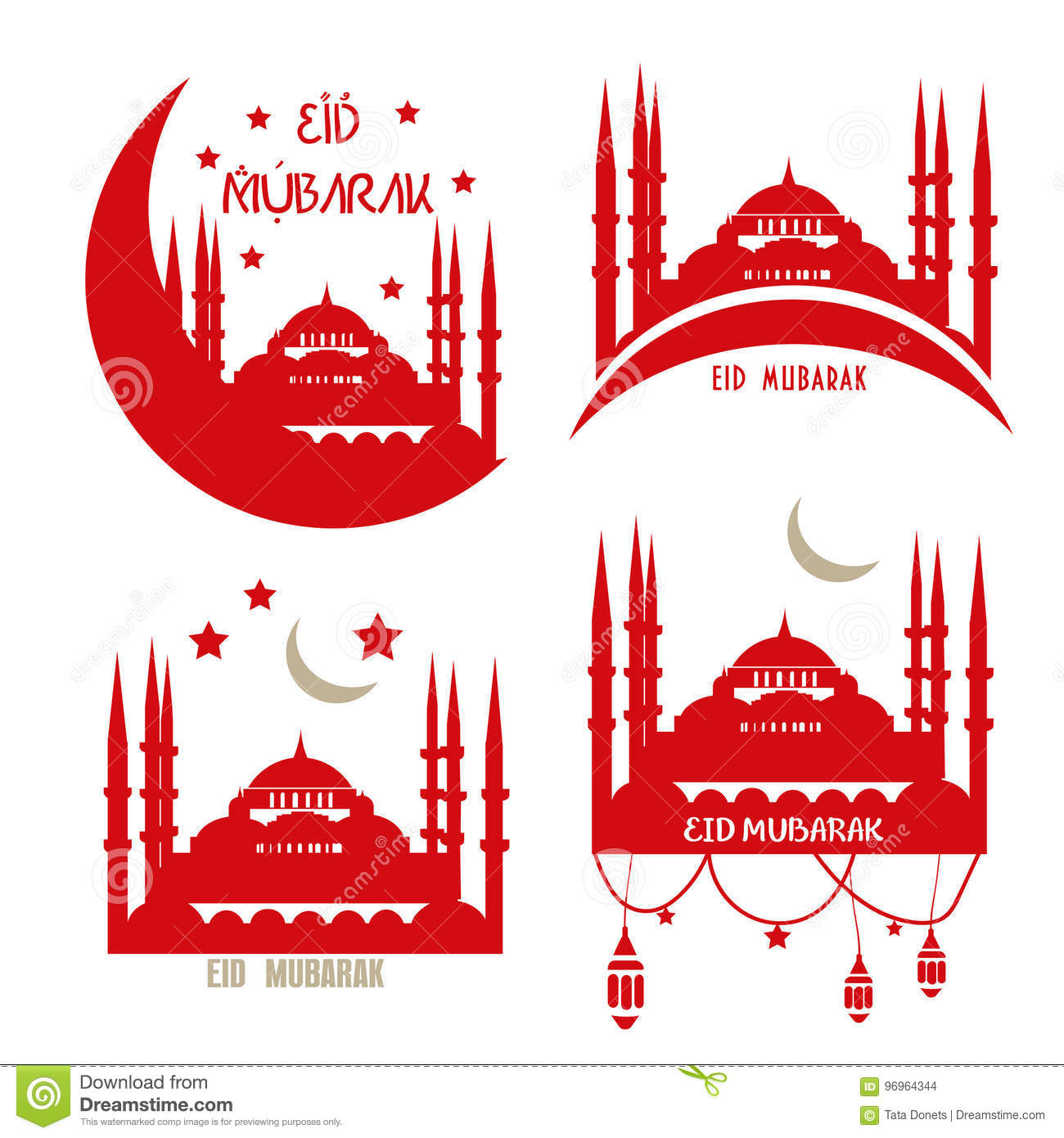Set Of Greeting Cards Muslim Community Eid Al Adha Stock Vector