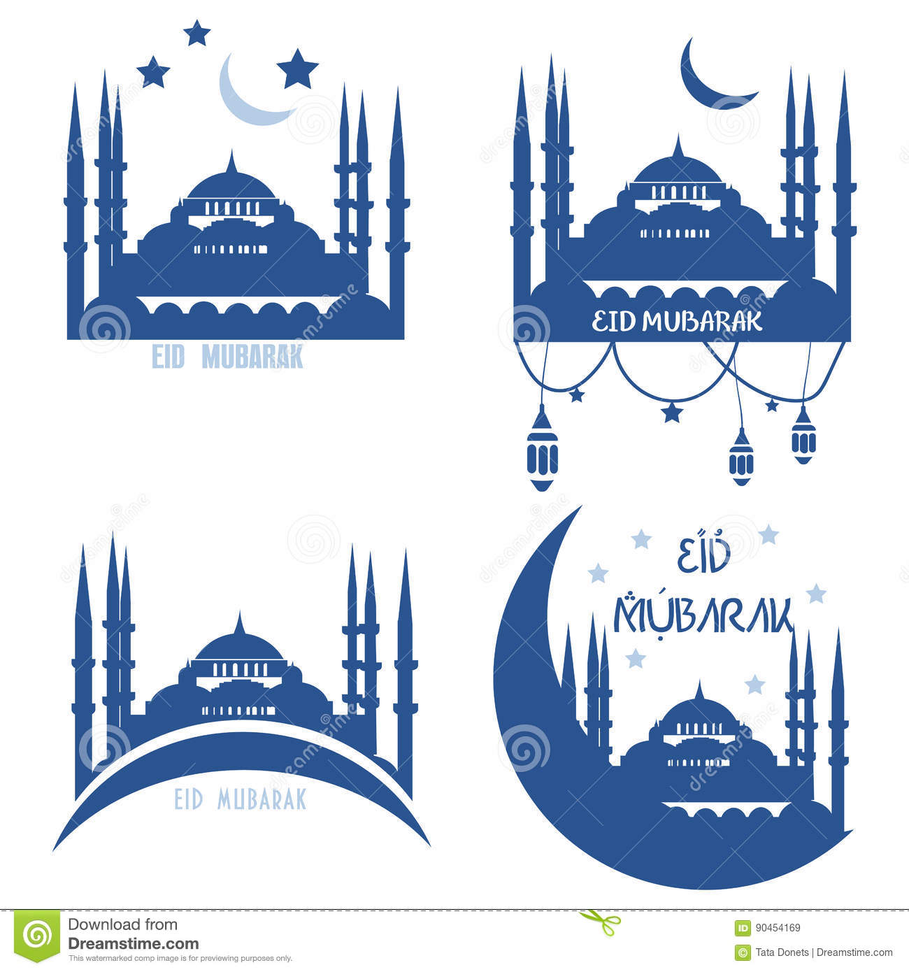 Set Of Greeting Cards Muslim Community Holydays Eid Al A Stock
