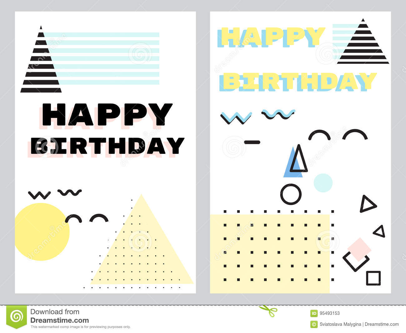 A set of greeting cards in the neo Memphis style