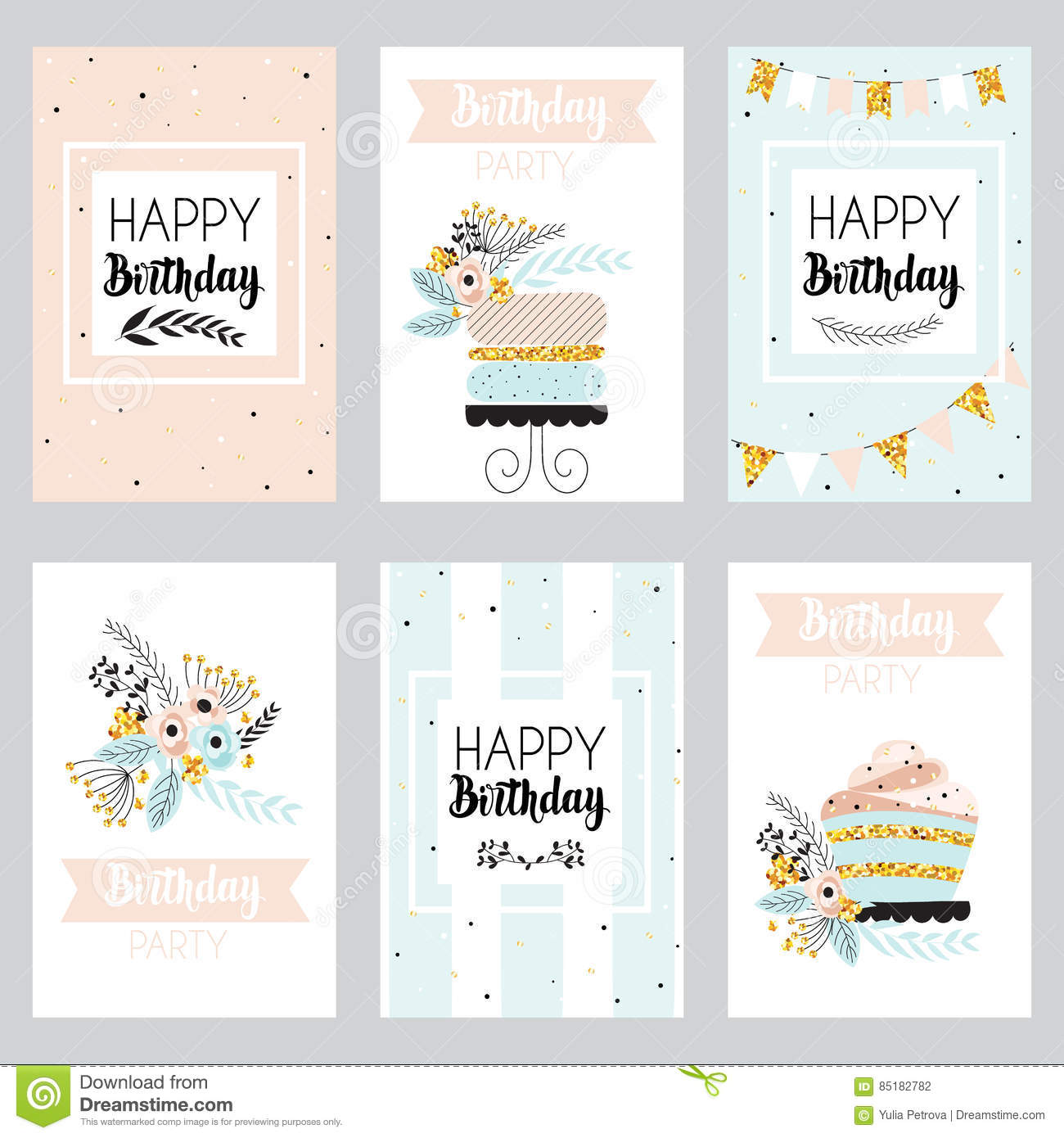 Set Of Greeting Cards In Pastel Colors Vector Image 85182782 – Set of Birthday Cards
