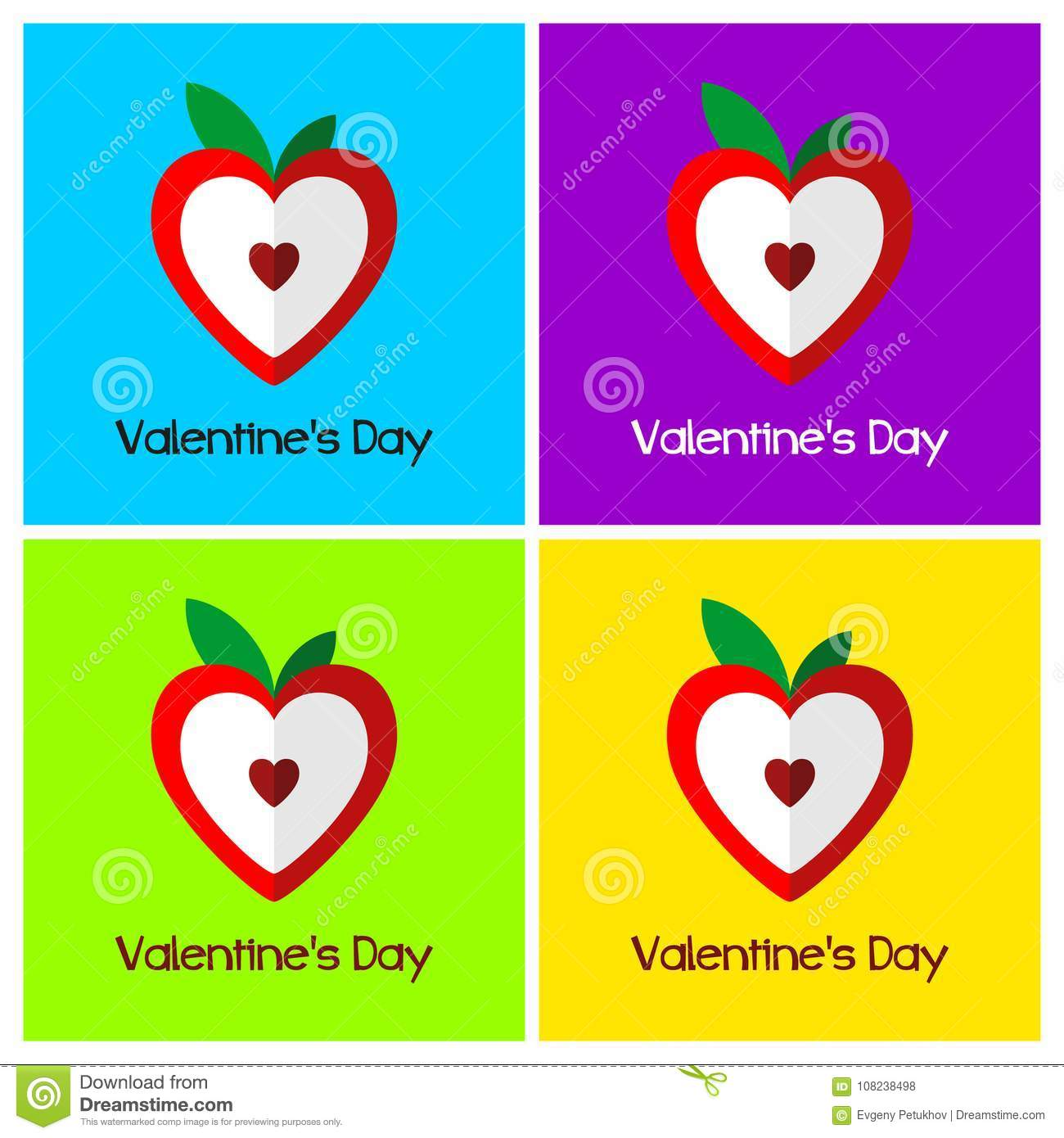 A Set Of Greeting Cards For Valentines Day Heart Stylized In A