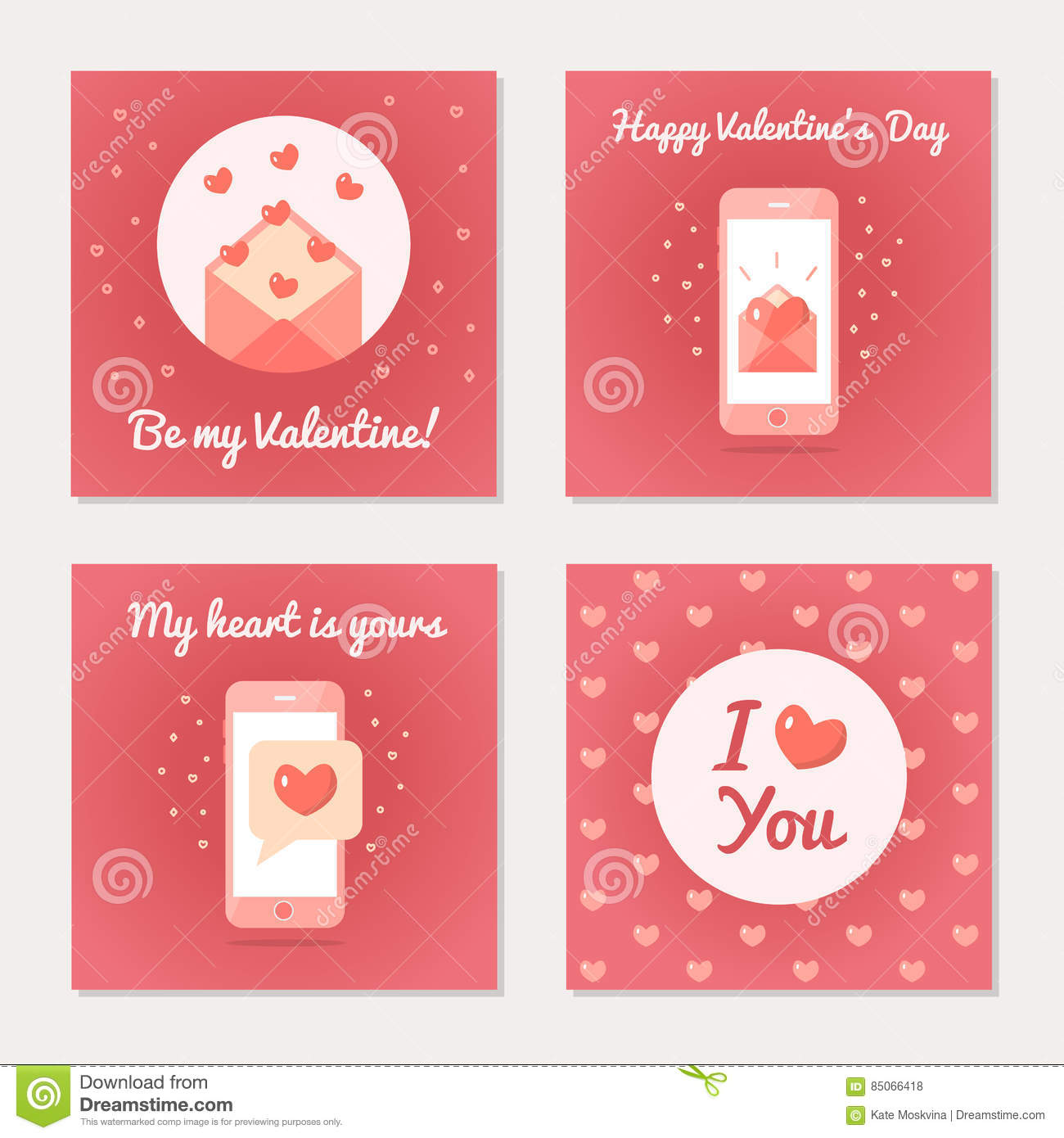 Set of greeting cards for valentine s day stock vector download set of greeting cards for valentine s day stock vector illustration of message m4hsunfo
