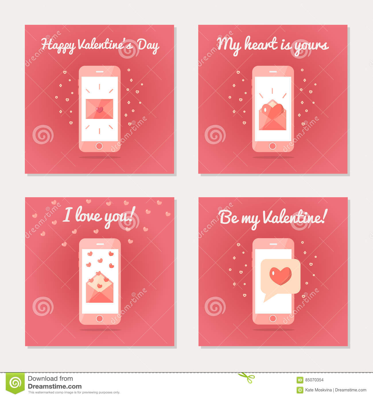 Set Of Greeting Cards For Valentine S Day Stock Vector ...