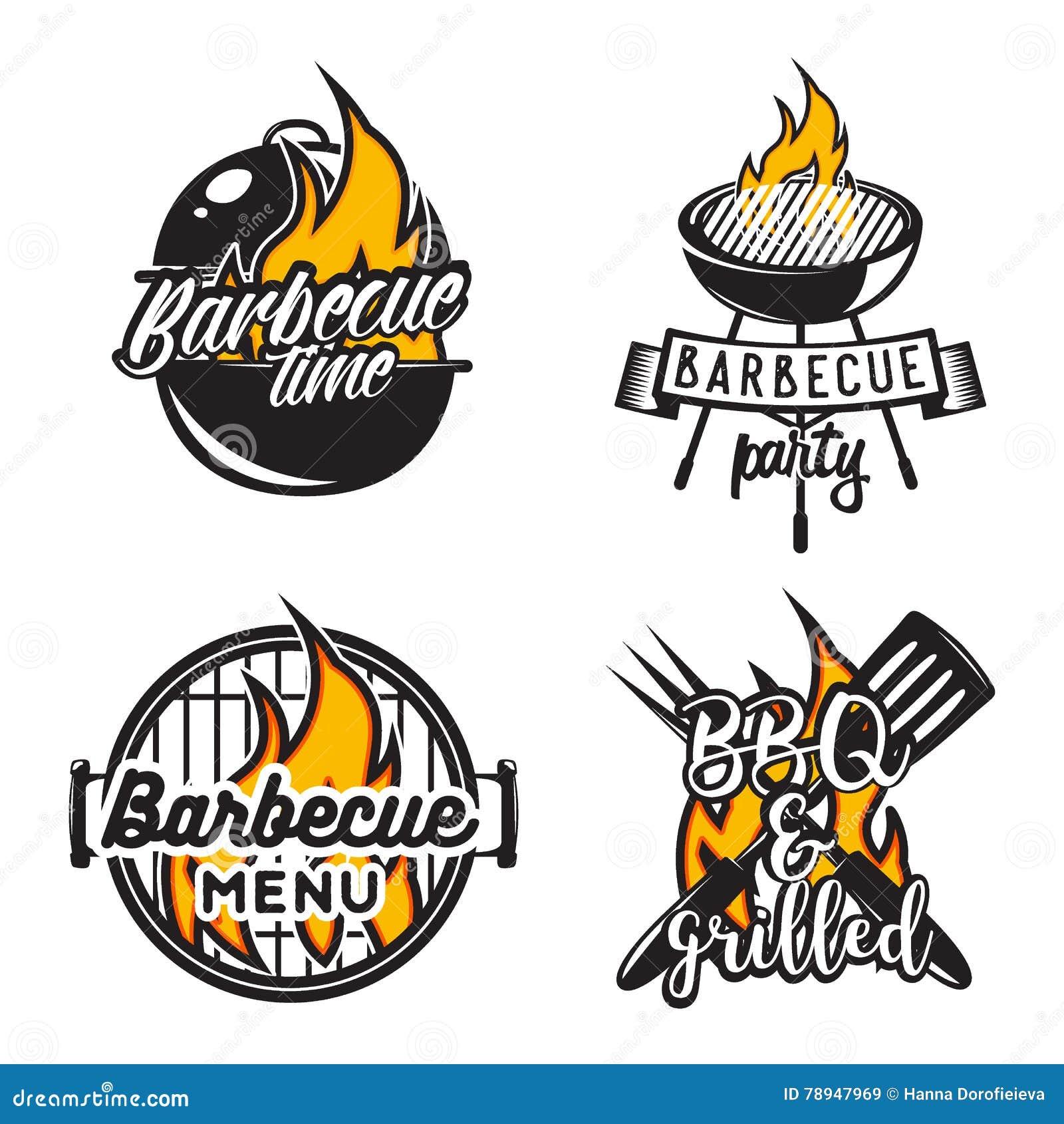Set grill etykietki Kreatywnie wektorowa ilustracja