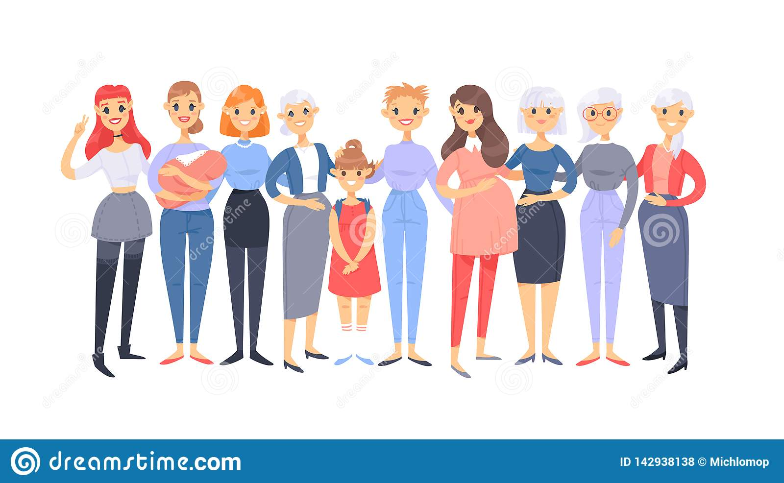 Set of a group of different caucasian women. Cartoon style european characters of different ages. Vector illustration american