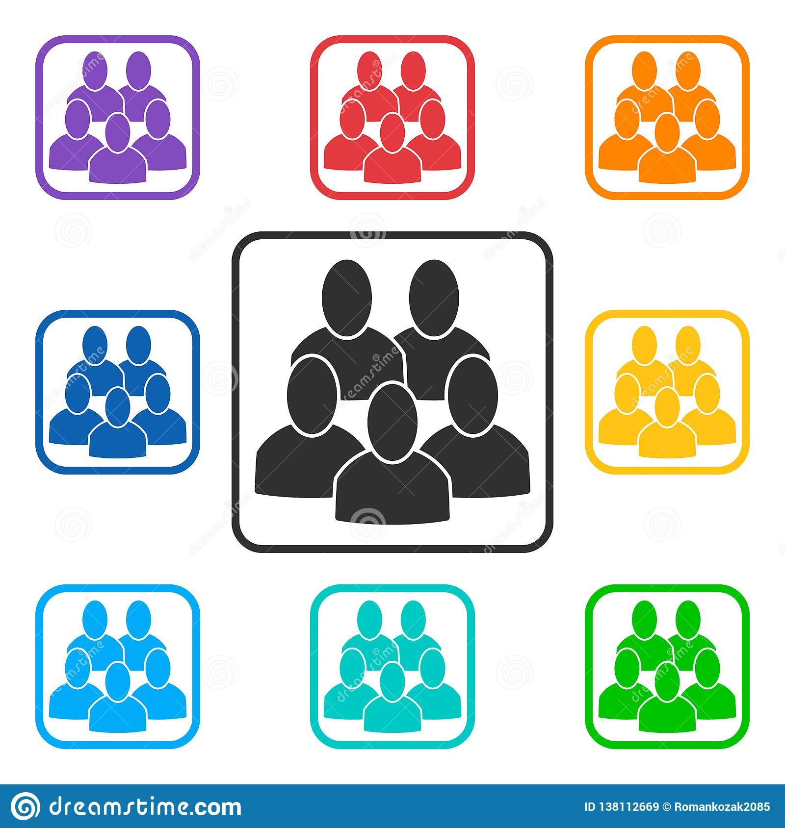 Set of group square icons with 5 peoples
