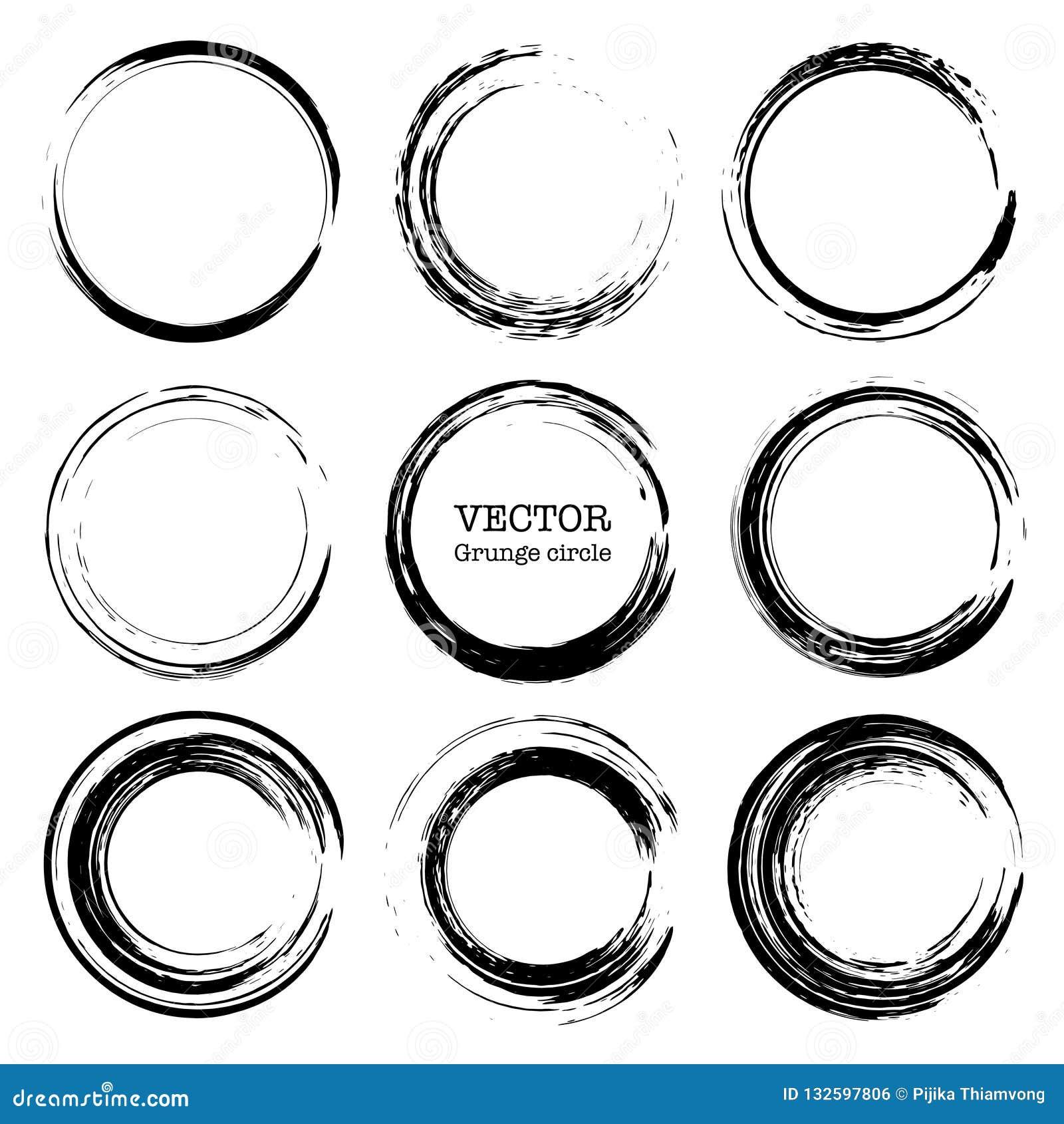 Set grunge okręgi, Grunge round kształty