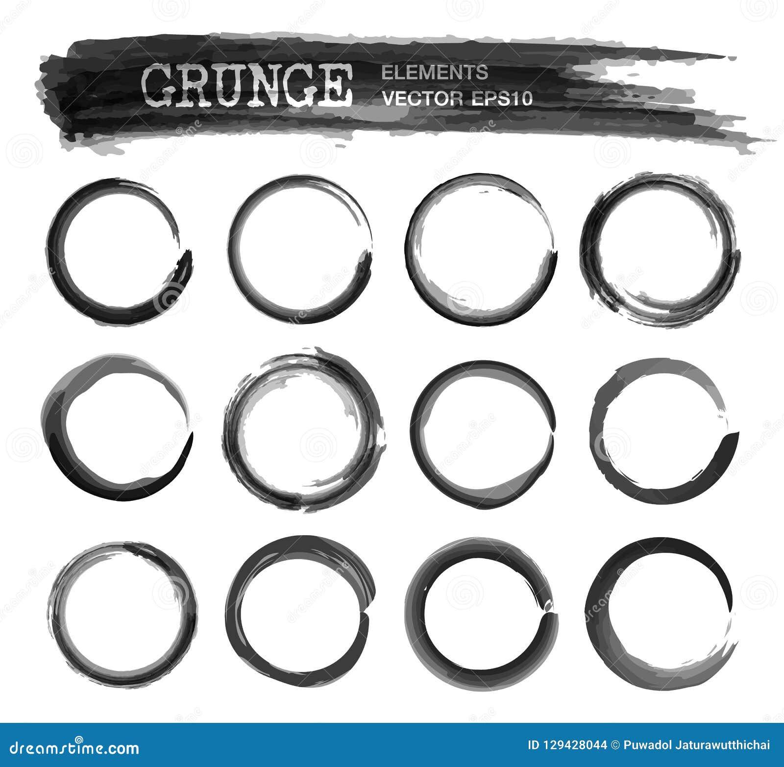 Set Of Grunge Realistic Black Color Ink Watercolor