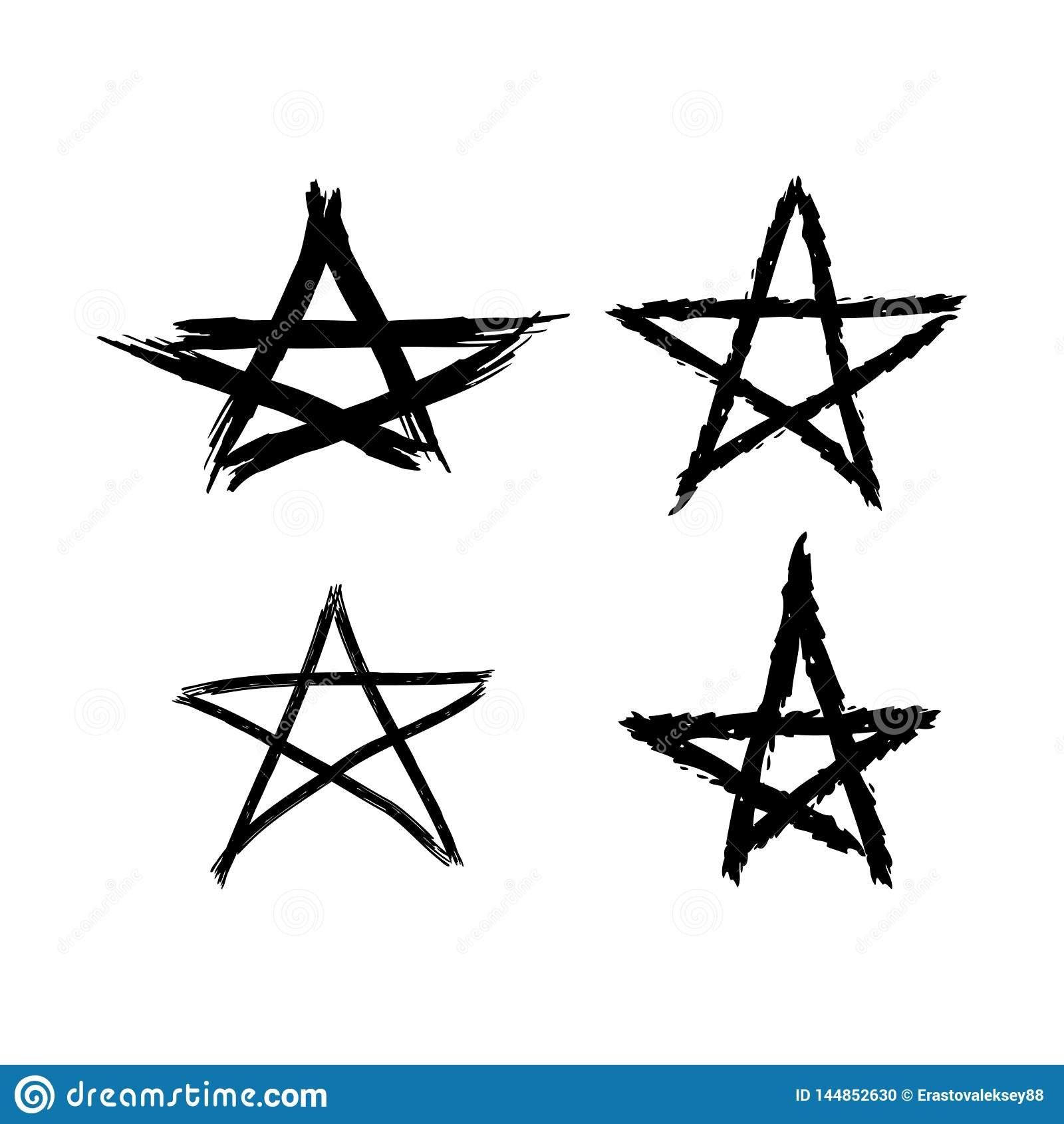 Set of grunge stars painted with rough brush. Black elements on a white background. Sketch, watercolor, graffiti.
