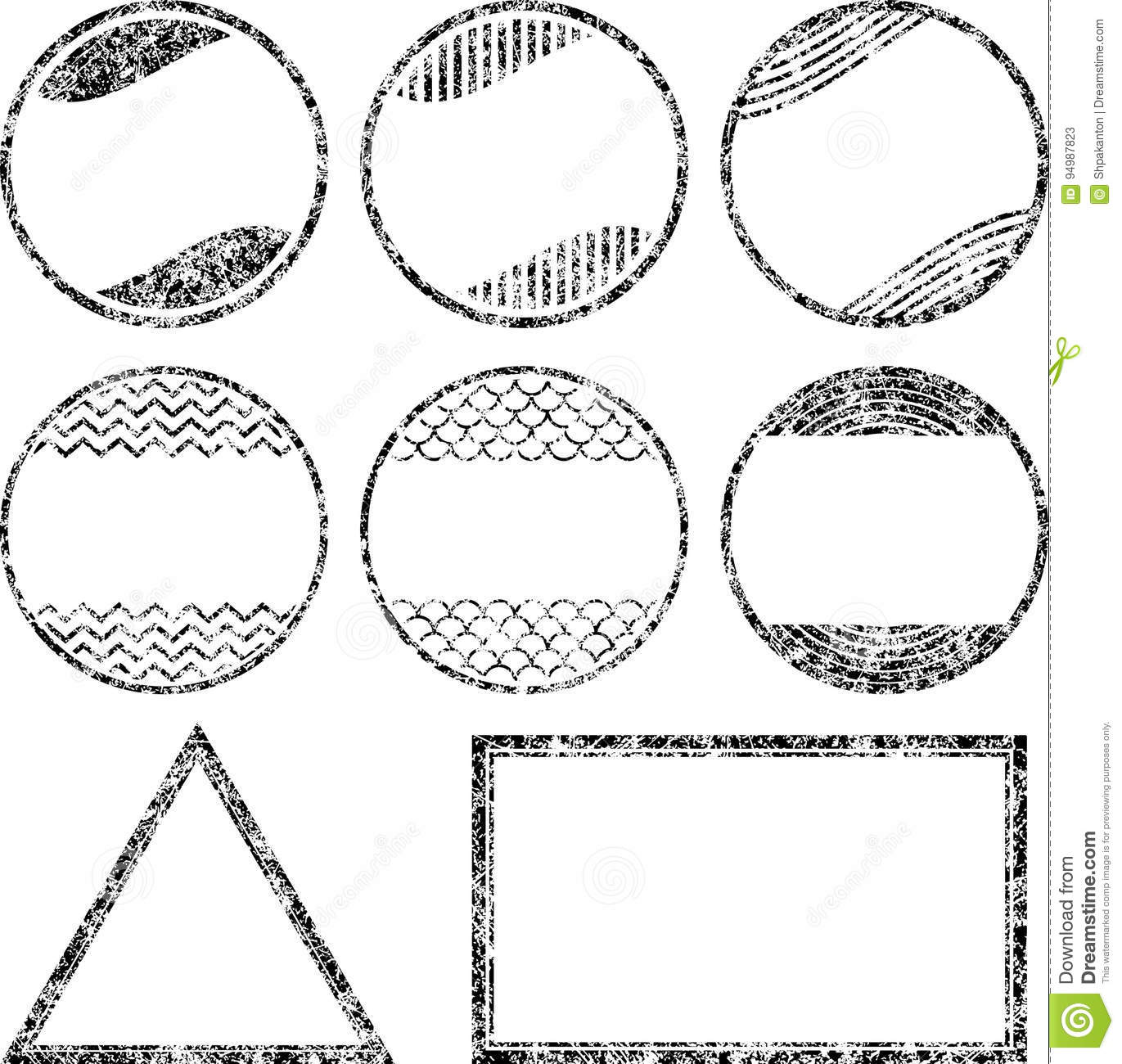 set of 8 grunge style rubber stamps templates stock vector