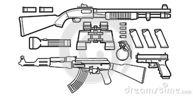 Set Of Gun Icons Sketch Stock Vector. Illustration Of Model - 57514338