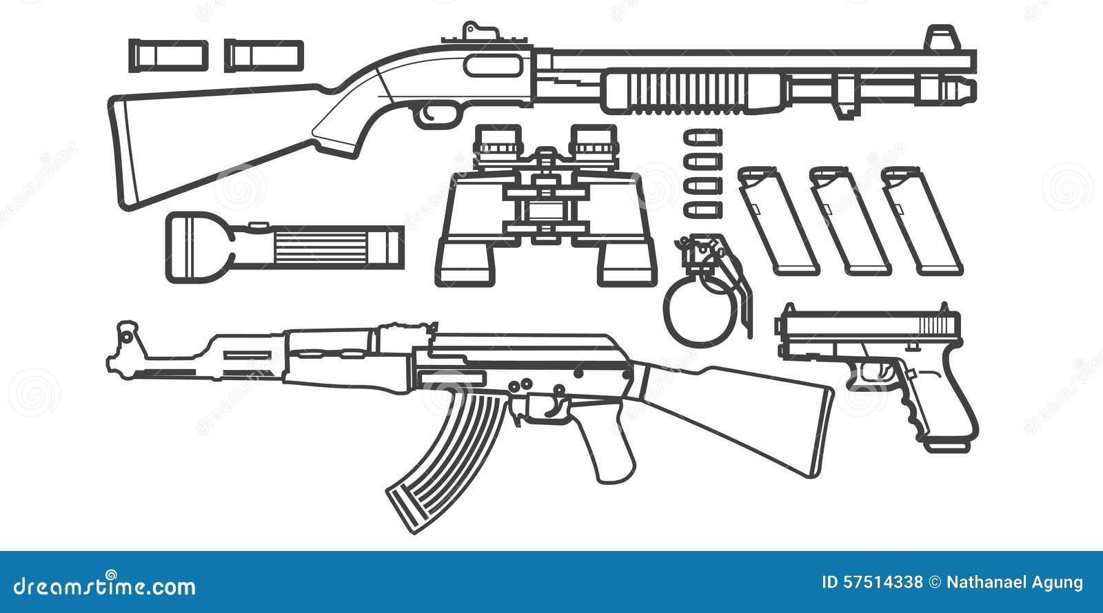 Set Of Gun Icons Sketch Stock Vector Image Of Model