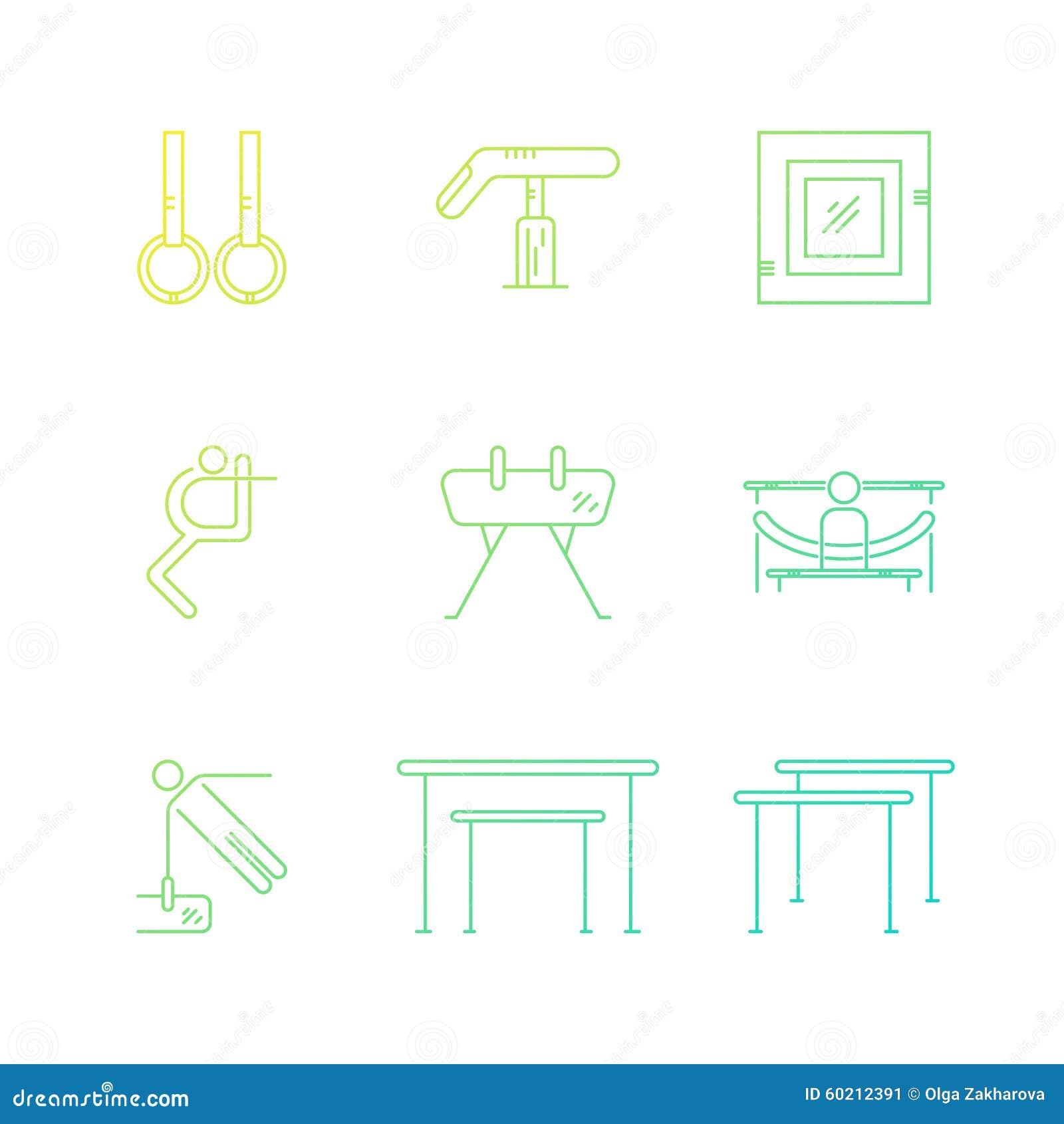 Set Of Gymnastics Icons Stock Illustration Illustration
