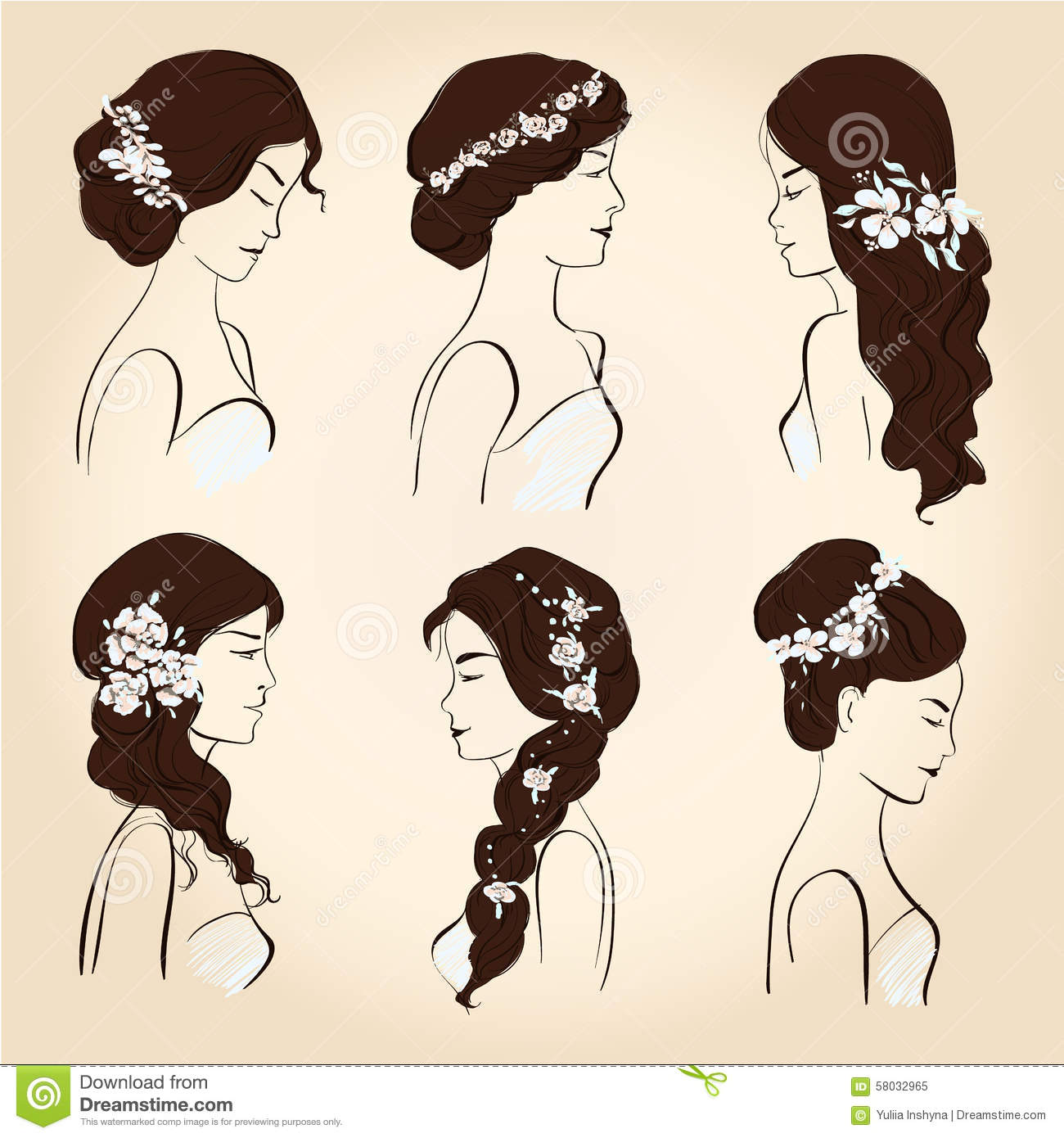 Set Hair With Flowers For Brunettes Stock Vector Image