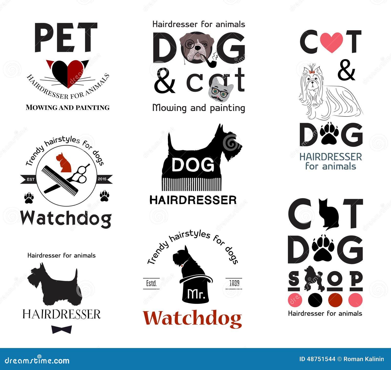 Vector Set Pet Grooming Labels Vector Illustration