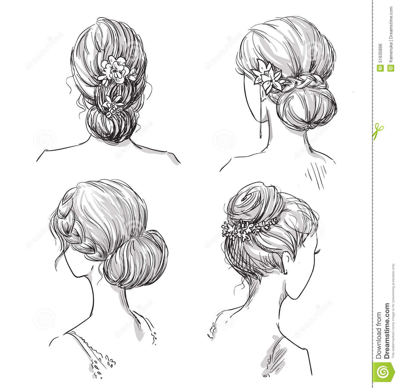 Set Of Hairstyles. Bridal Hairdo. Hand Drawn. Stock Vector - Image 51635896