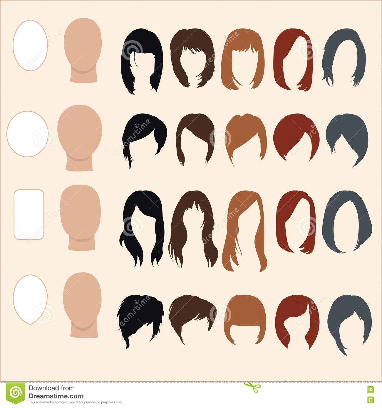 Set Of Hairstyles For Different Face Shapes Stock Vector ...