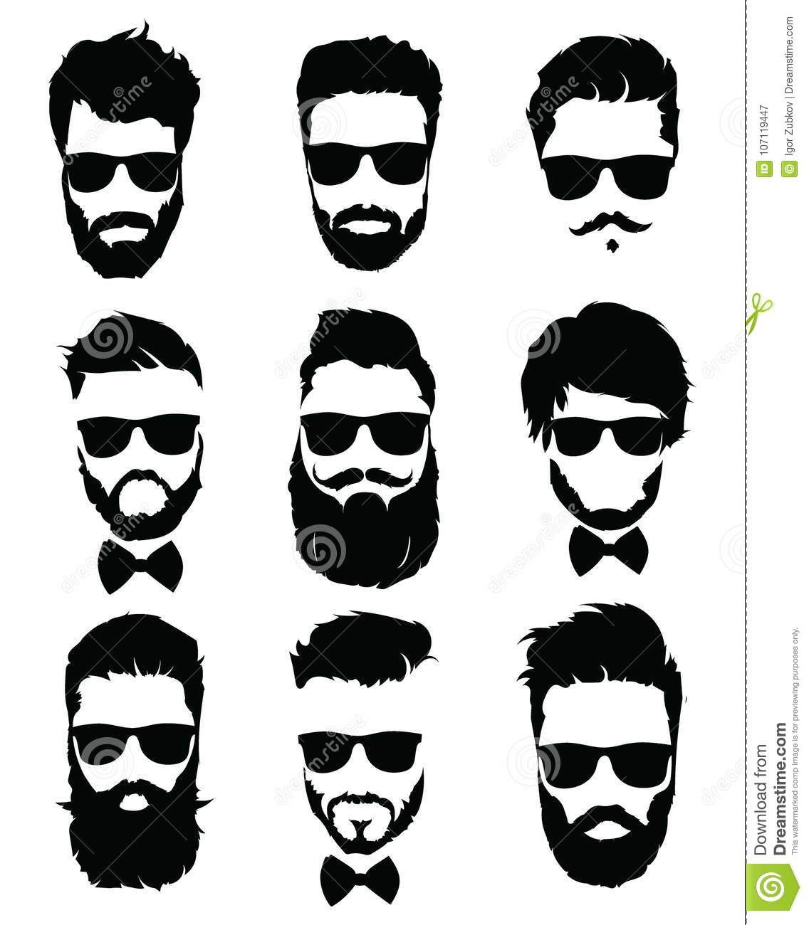 Set Of Hairstyles For Men In Glasses. Collection Of Black ...
