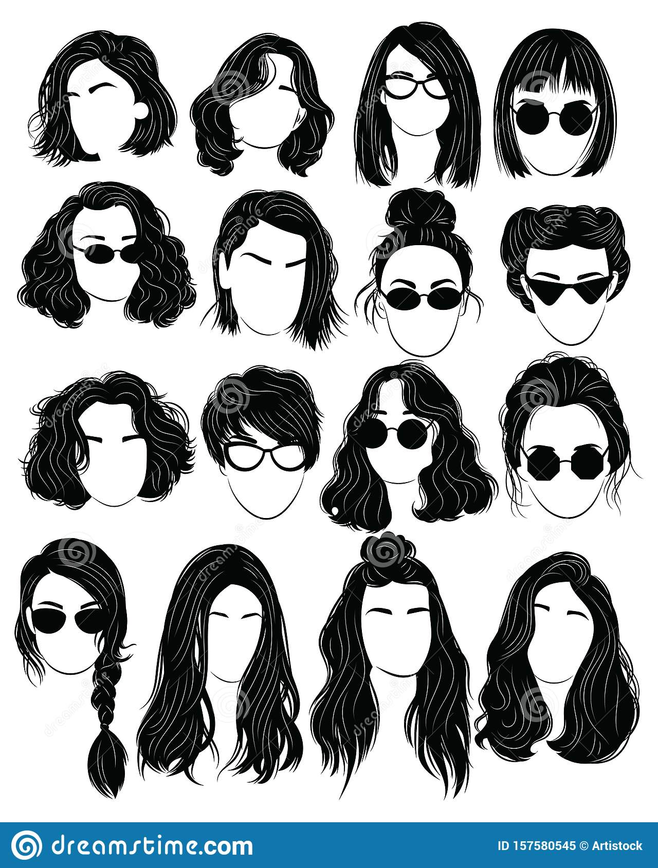 Set Of Hairstyles For Women. Collection Of Black Silhouettes Of ...