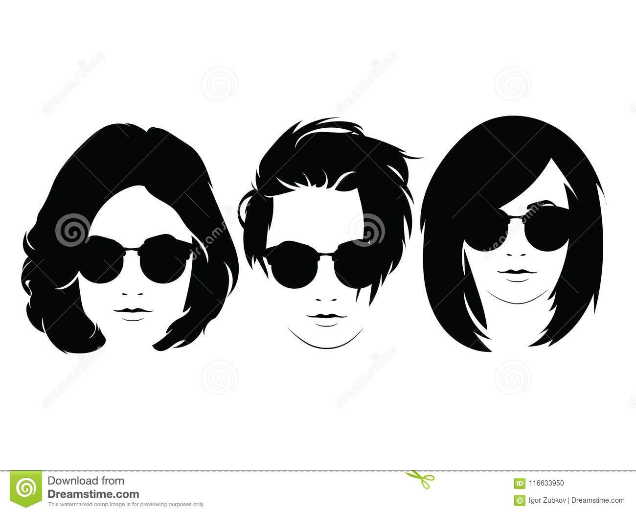 c0d6c8b12f Set of hairstyles for women with glasses. Collection of silhouettes of  hairstyles for girls for