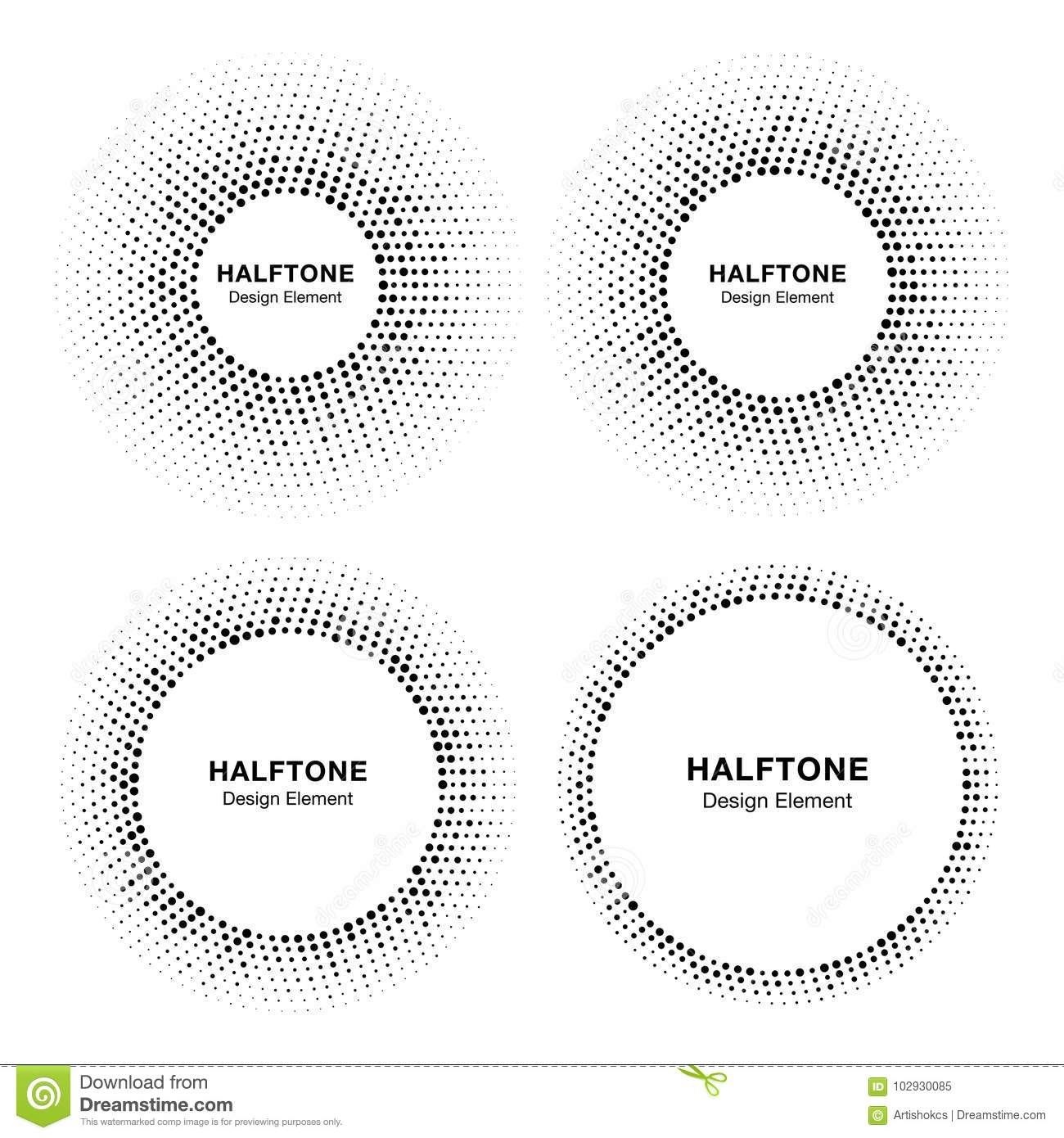 Set of Halftone circle vector frames with black abstract random dots, logo emblem design element for technology, medical