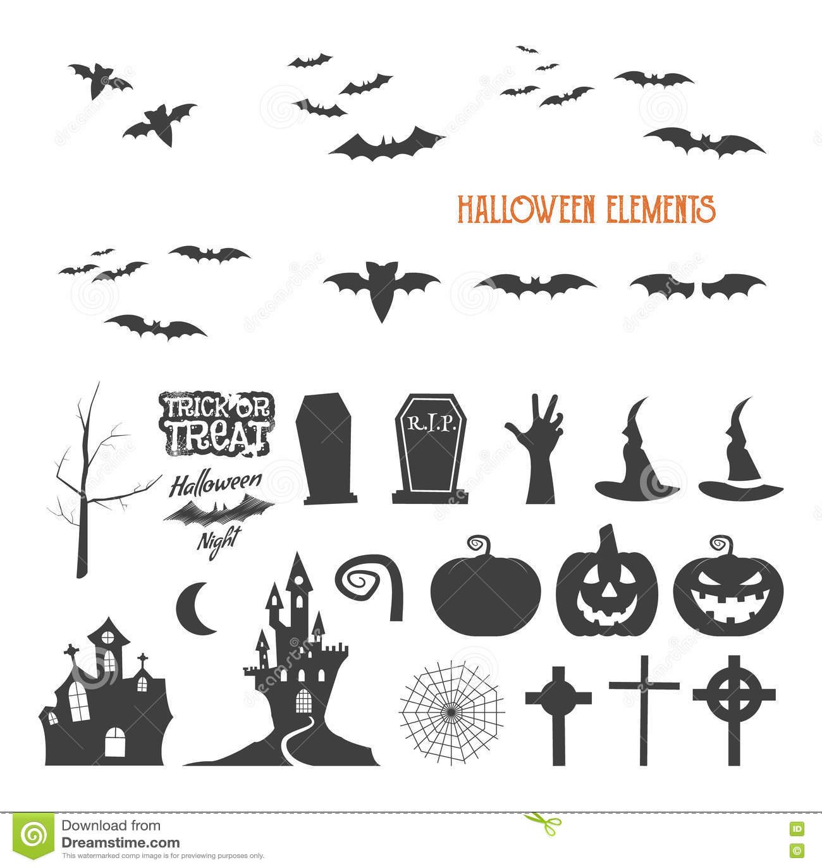 Set of halloween design creation tool kit icons isolate flat set of halloween design creation tool kit icons isolate flat holiday design creator party symbols pumpkin bat buycottarizona Image collections