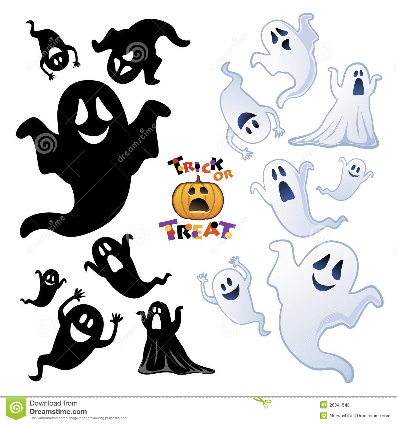 Set Of Halloween Ghost Ghost Silhouette Royalty Free