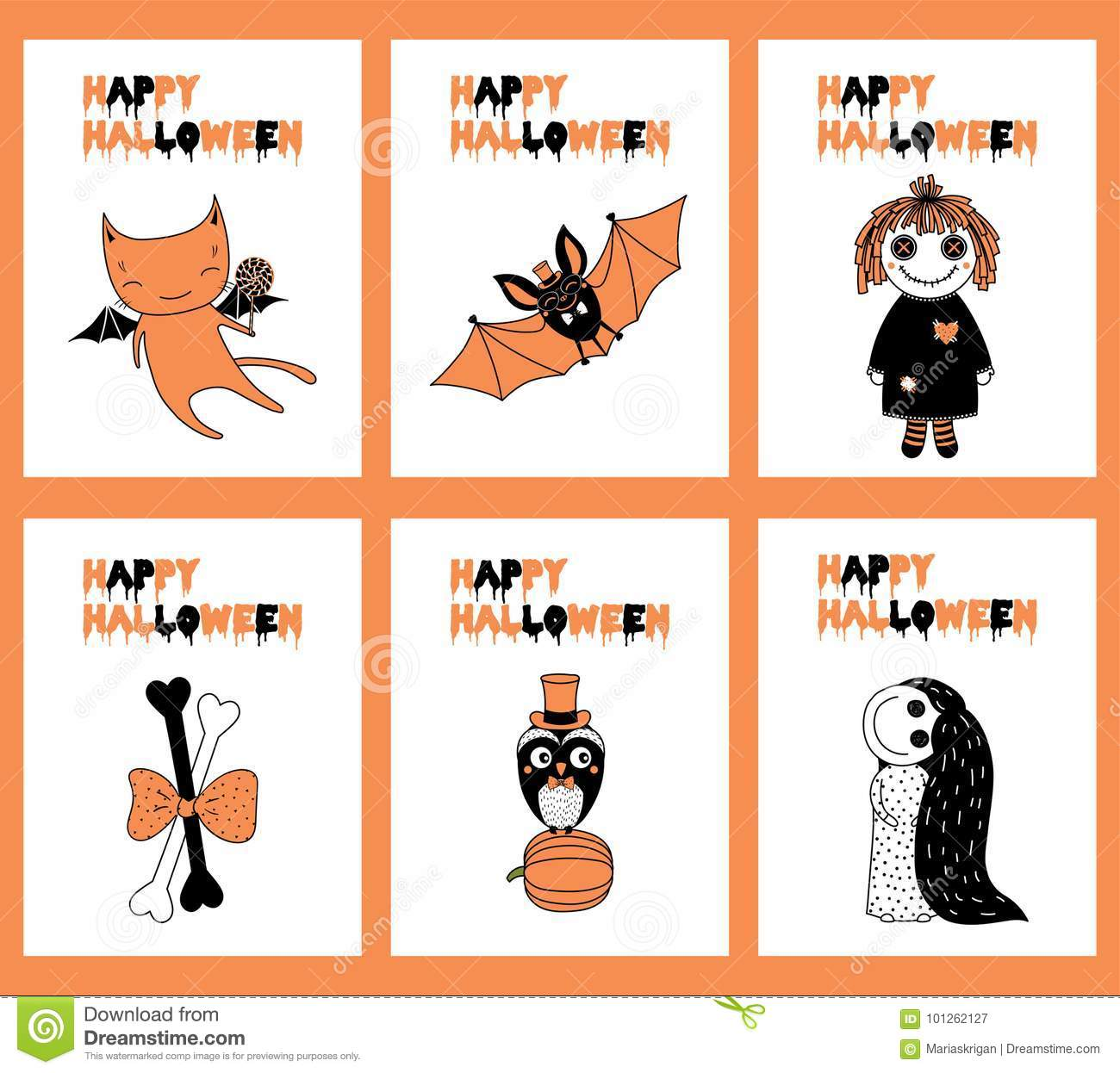 Set Of Halloween Greeting Cards Stock Vector Illustration Of