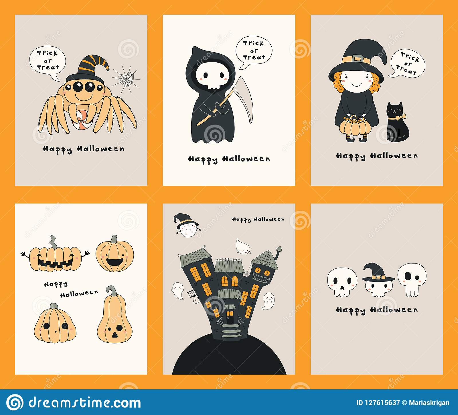 Set Of Kawaii Halloween Cards Stock Vector Illustration Of Candy
